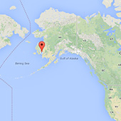 Eek, Alaska pinpointed on a map