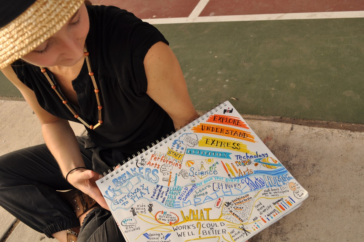 woman with sketch notes